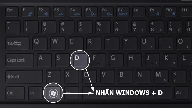 Thoát màn hình nhanh chóng bằng cách sử dụng phím tắt Windows + D